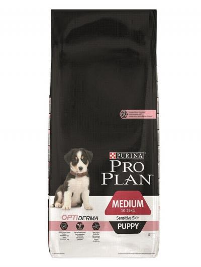 Корм для собак Purina Pro Plan OPTI Derma Sensitive Skin Medium Puppy Лосось с рисом 12 кг