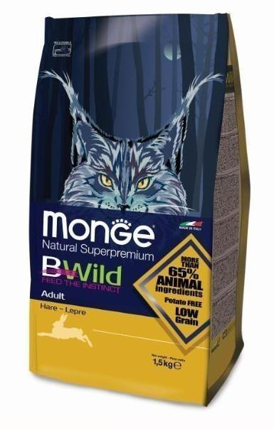 Корм Monge для кошек Monge Cat Bwild  мясо зайца 1,5 кг